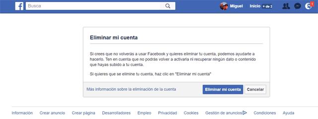 como borrar cuenta facebook